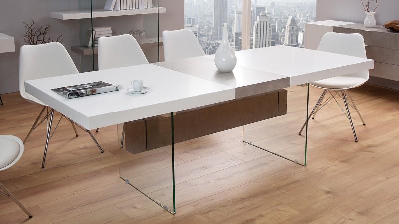 Salle à manger laquée blanc et béton design - Solna