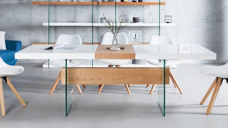 Salle à manger complète scandinave blanc et bois - Varberg