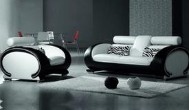 Salon complet 3+2+1 bicolore en cuir simili - Elton