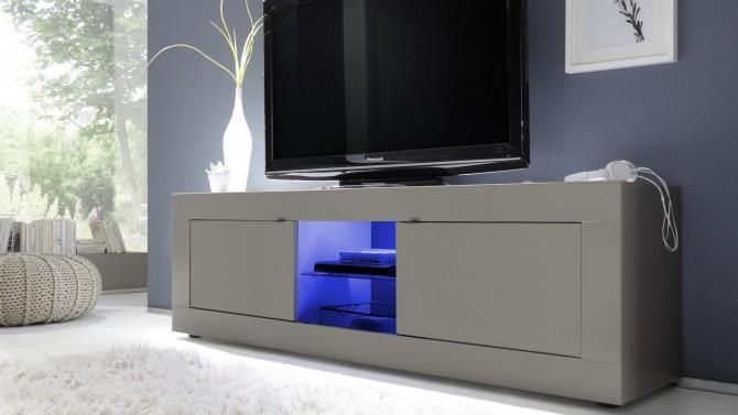 Meuble TV design LEDs taupe mat - Lernig