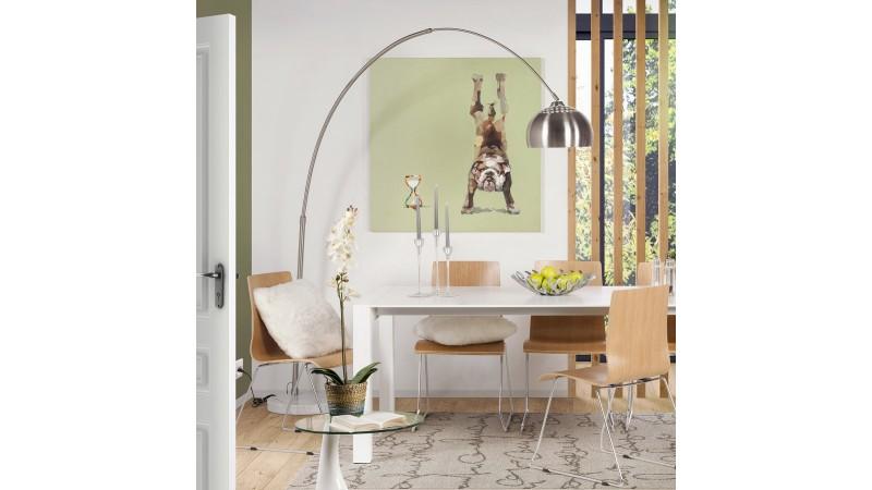 lampadaire en arc curve xxl en m tal et sur socle en pierre gdegdesign. Black Bedroom Furniture Sets. Home Design Ideas
