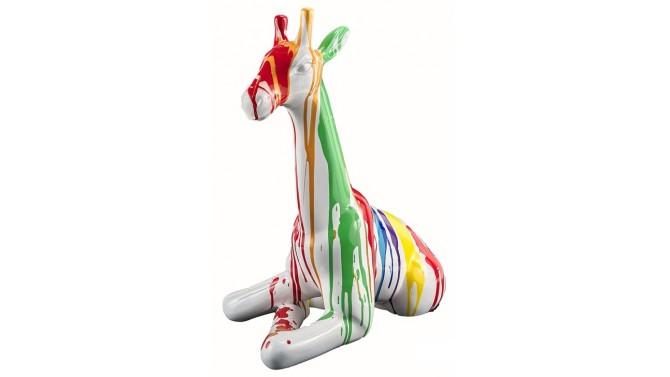 Sculpture multicolore blanc girafon - Zora