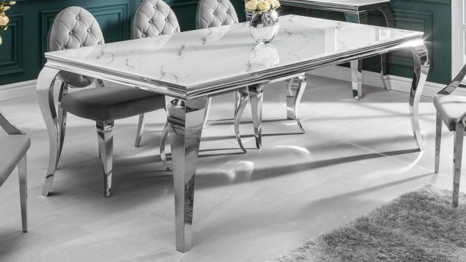 Table à manger imitation marbre en verre - Zita