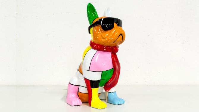 Statue chien coloré original - Celso