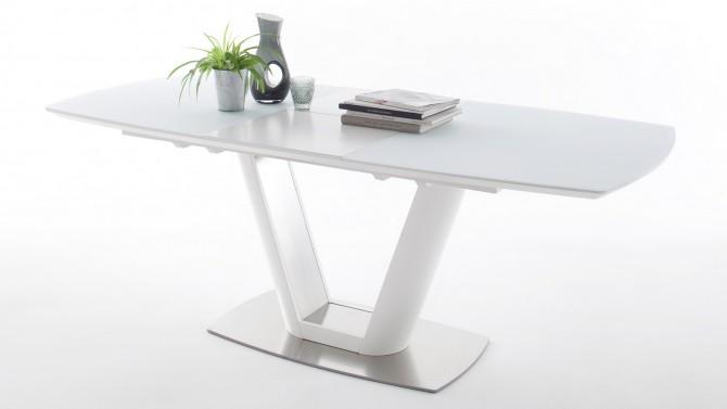 Table extensible laquée blanche et verre - Borja