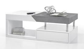 Table de salon 2 tiroirs blanc mat et béton - Lawry