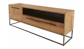 Meuble TV moderne en bois et métal - Logan