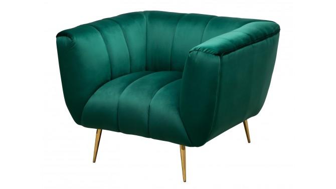 Fauteuil design matelassé velours vert - Prisma
