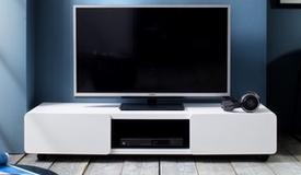 Banc TV laqué blanc mat 2 portes - Viktor