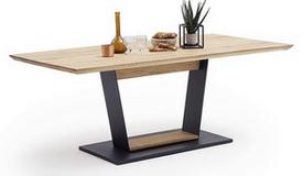 Table à dîner en bois de chêne et métal noir - Dario
