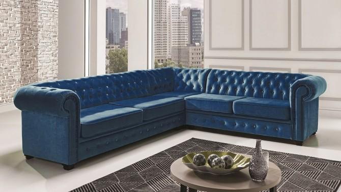 Canapé d'angle design capitonné en velours - Lerwick