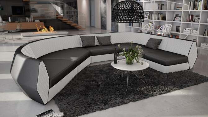 Canapé d'angle panoramique en simili cuir - Bram