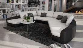 Canapé d'angle en cuir panoramique - Aiken