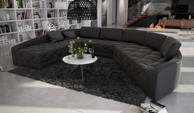 Canapé d'angle cuir avec capitons - Leyde