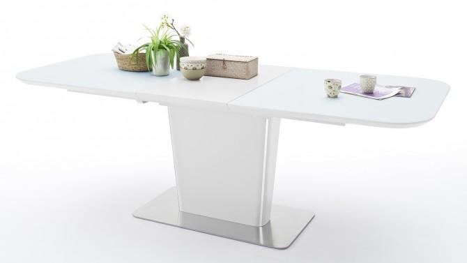 Table à dîner bois blanc et plateau verre - Roald