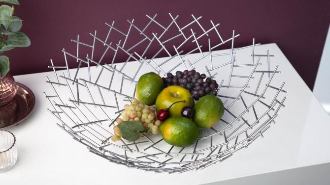 Corbeille à fruits design argentée - Diego