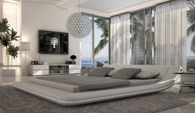 Lit design simili blanc 180x200 cm LED - Apex