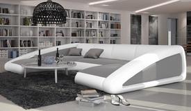 Canapé d'angle simili cuir gris clair / blanc - Olten