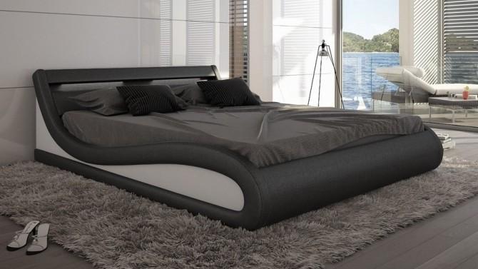Lit 140x190 cm simili noir et blanc avec LED - Aspen