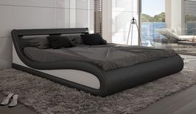 Lit simili cuir noir et blanc 200x200 cm LED - Aspen