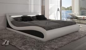 Lit design 160x200 cm blanc et noir en cuir simili - Aspen