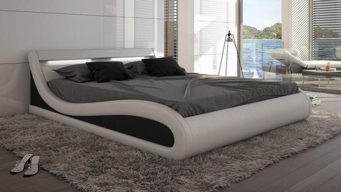 Lit design blanc et noir 140x190 cm avec LED - Aspen