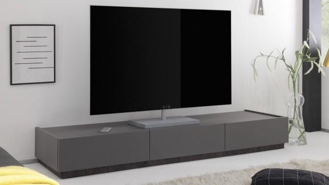 Meuble TV laqué gris mat 3 tiroirs - Ivo
