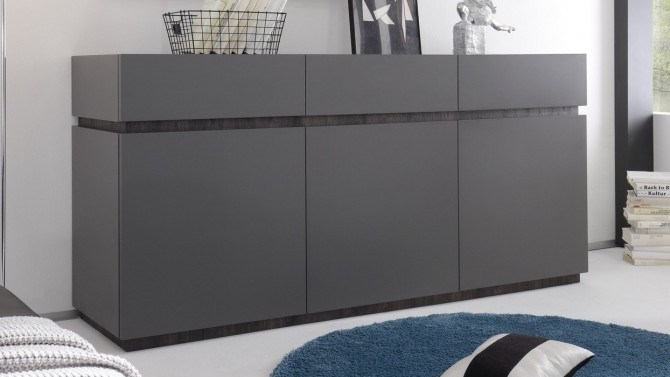 Buffet design gris 3 portes + 3 tiroirs - Ivo