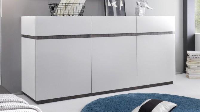Bahut 3 portes + 3 tiroirs blanc mat - Ivo