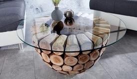 Table de salon authentique en bois et verre - Ezio