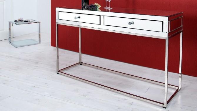 Console miroir strass design 2 tiroirs - Dayanna