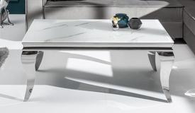 Table basse baroque imitation marbre verre - Zita