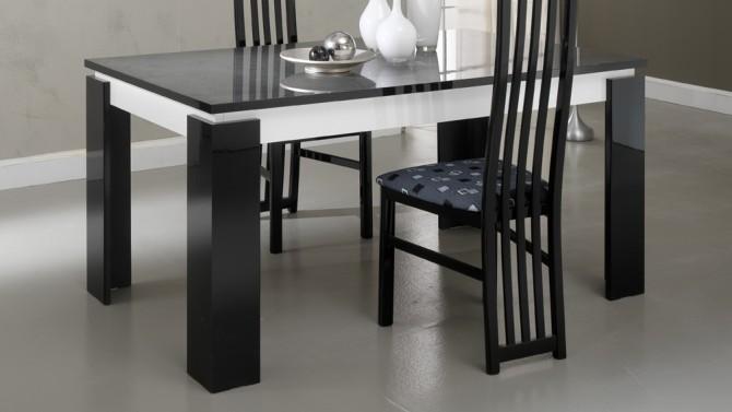 Table à manger noire et blanche avec rallonge - Varsovie