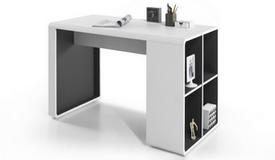 Bureau design laqué blanc et rangements - Damon