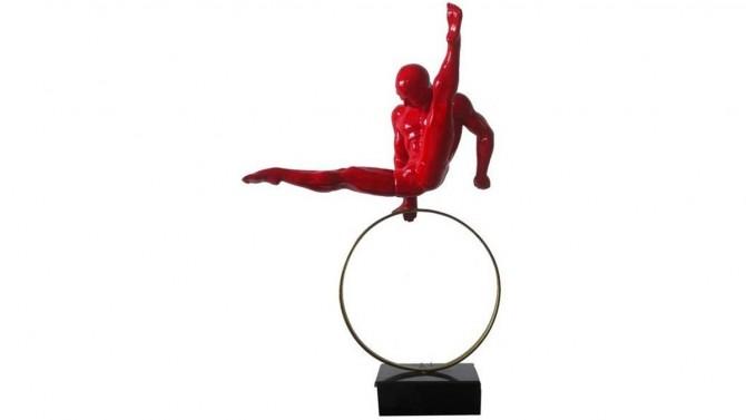 Statue équilibriste athlète rouge - Equilibrist