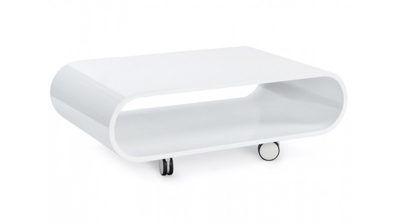 Table Basse Moderne Laquée Blanche Avec Roulettes Pratt