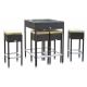 Table haute de jardin + 4 tabourets de bar - Mesa