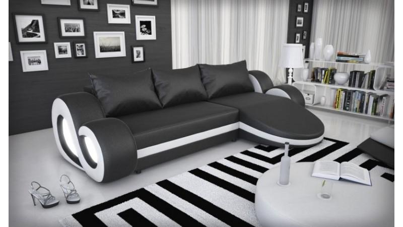 canap d 39 angle design lumineux en simili cuir wilton. Black Bedroom Furniture Sets. Home Design Ideas