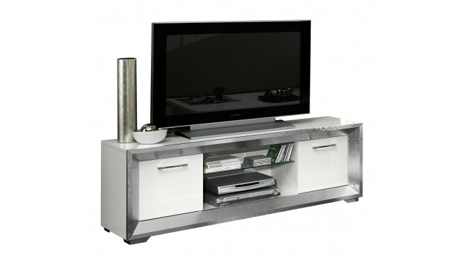 Meuble TV 2 portes laqué blanc - Trenton