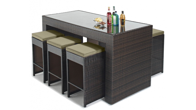 Set d 39 ext rieur design 6 tabourets table haute dayton for Table 6 haute pocket
