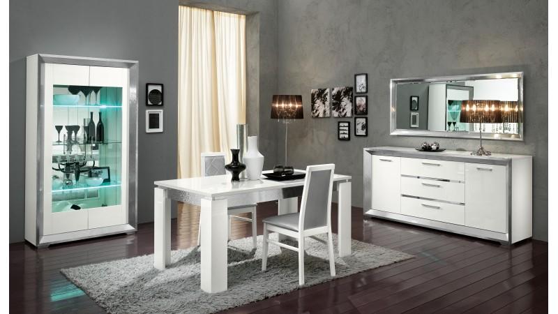 Table à dîner blanche et gris brillant Trenton GdeGdesign