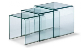 Table d'appoint gigogne en verre - Noula