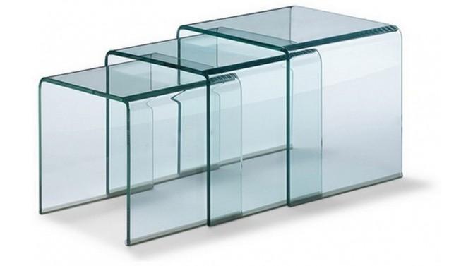 Table d'appoint gigogne en verre transparent - Noula