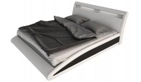 Lit simili cuir LED 160x200 cm blanc et noir - Milton