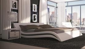 Lit design 160x200 cm blanc et noir - Laren