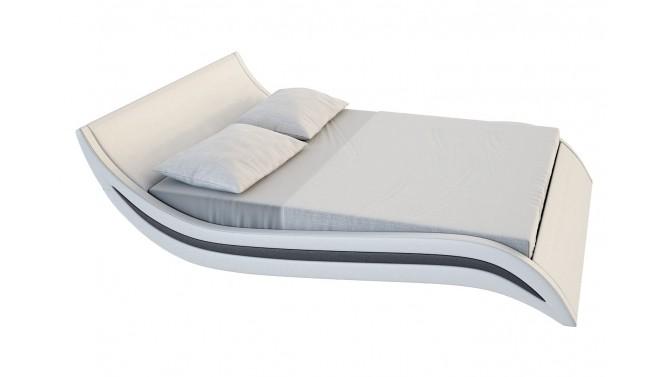 Lit design moderne 160x200 cm blanc et noir en simili cuir - Laren
