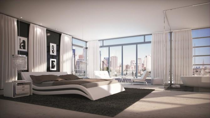 Lit moderne en simili cuir blanc et noir 160x200 cm laren for Chambre a coucher 160x200