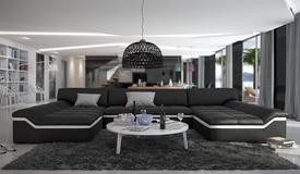 Canapé panoramique en cuir + simili cuir noir et blanc - Dorog