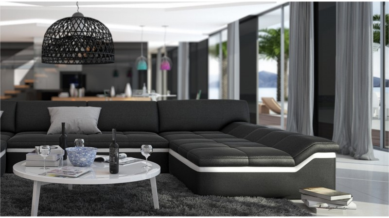 Canap design panoramique en cuir simili cuir dorog - Canape panoramique simili cuir ...