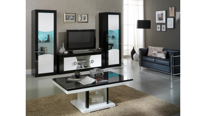 meuble tv moderne 2 portes noir et blanc nevis gdegdesign. Black Bedroom Furniture Sets. Home Design Ideas